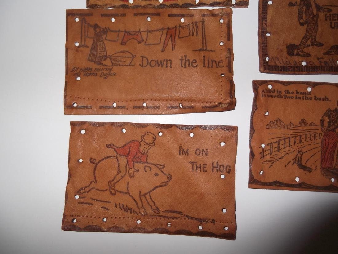 11 vintage leather postcards - 4