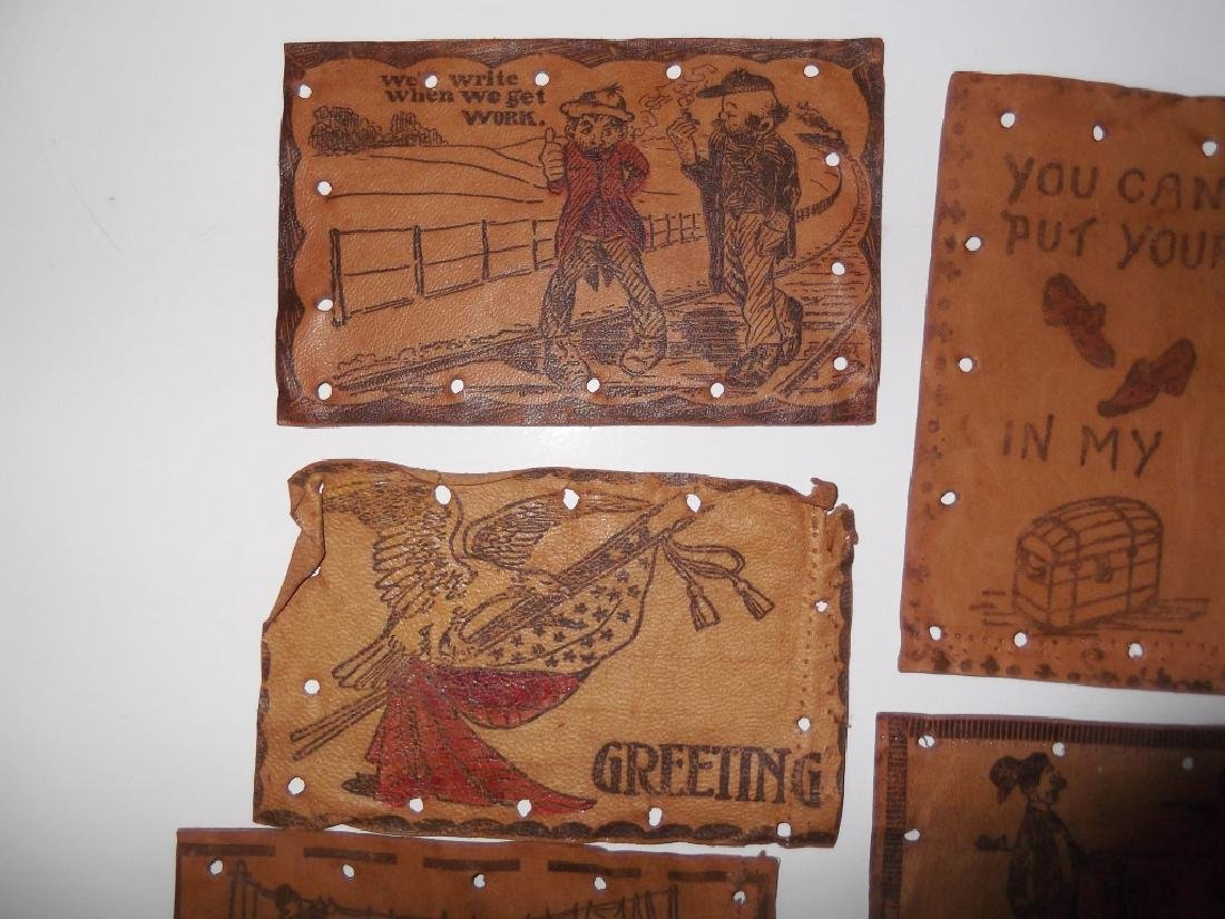 11 vintage leather postcards - 5