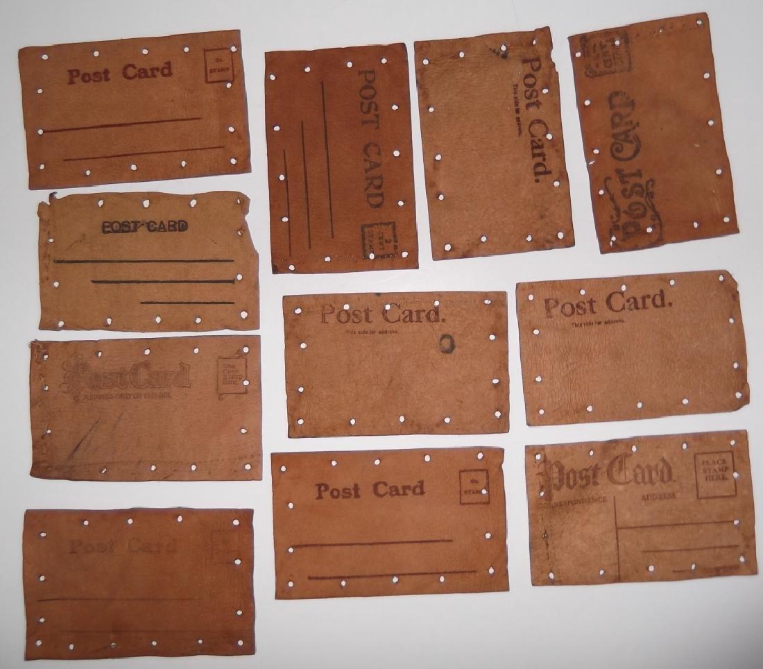 11 vintage leather postcards - 6