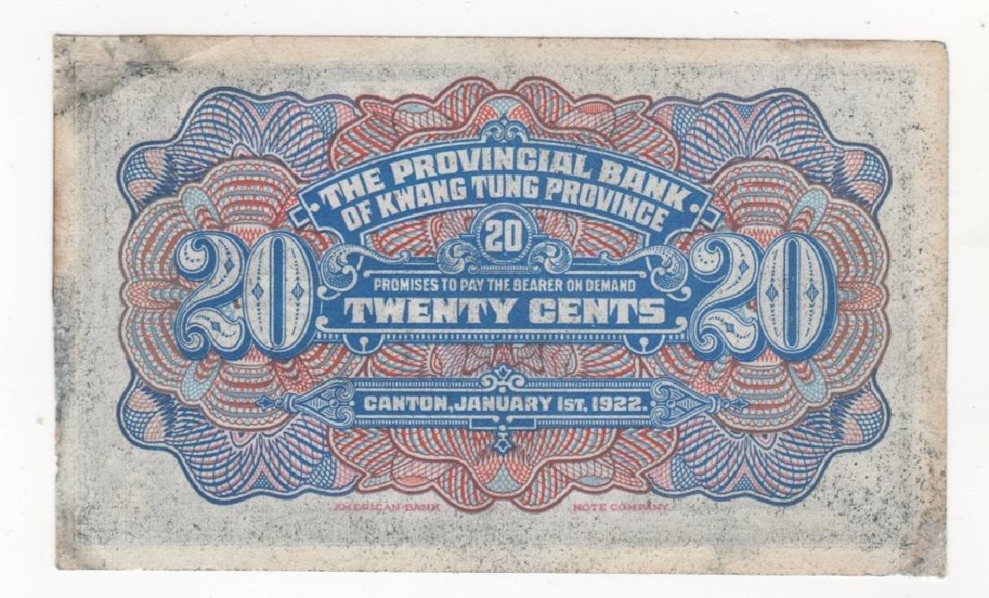1922  Provincial bank of kwang Tung Paper money - 2