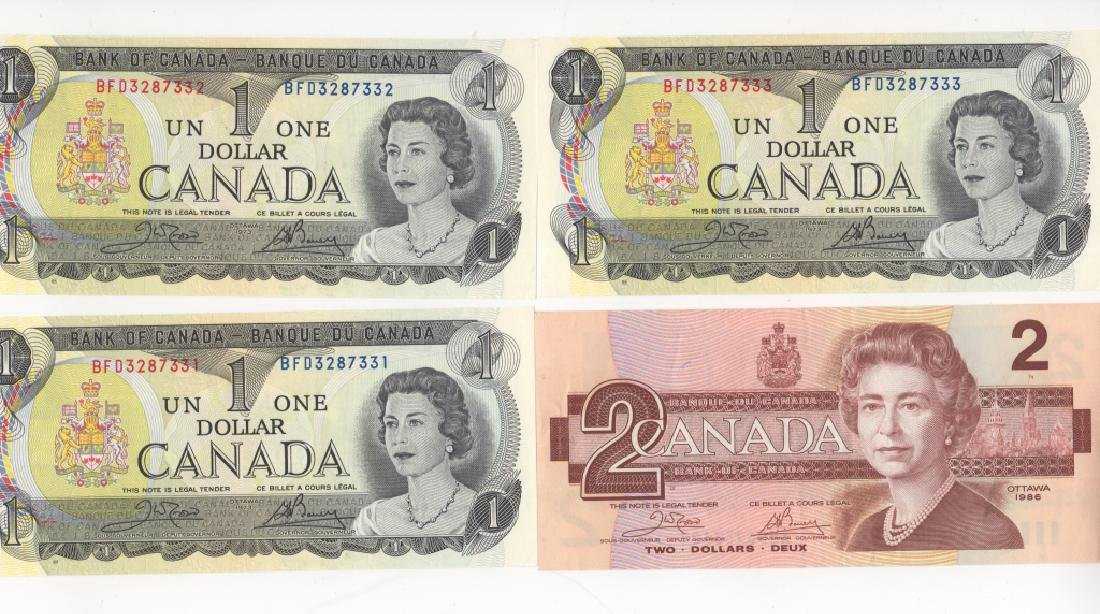 4 piece Canada/Canadian paper money