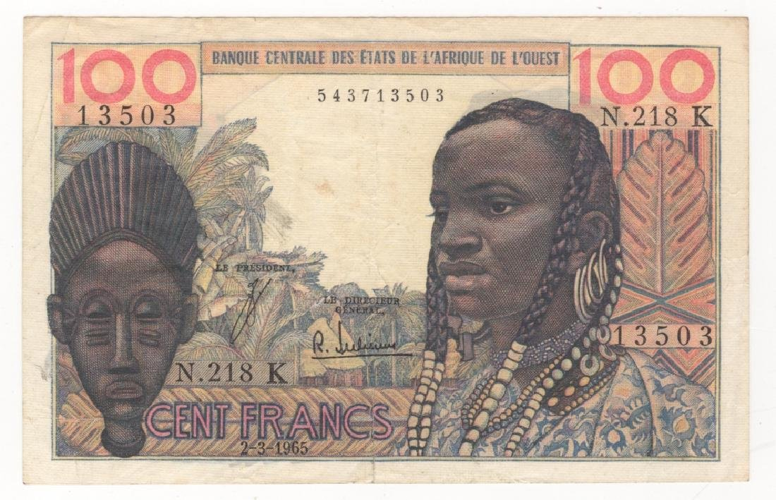 West African States 100 Francs paper money