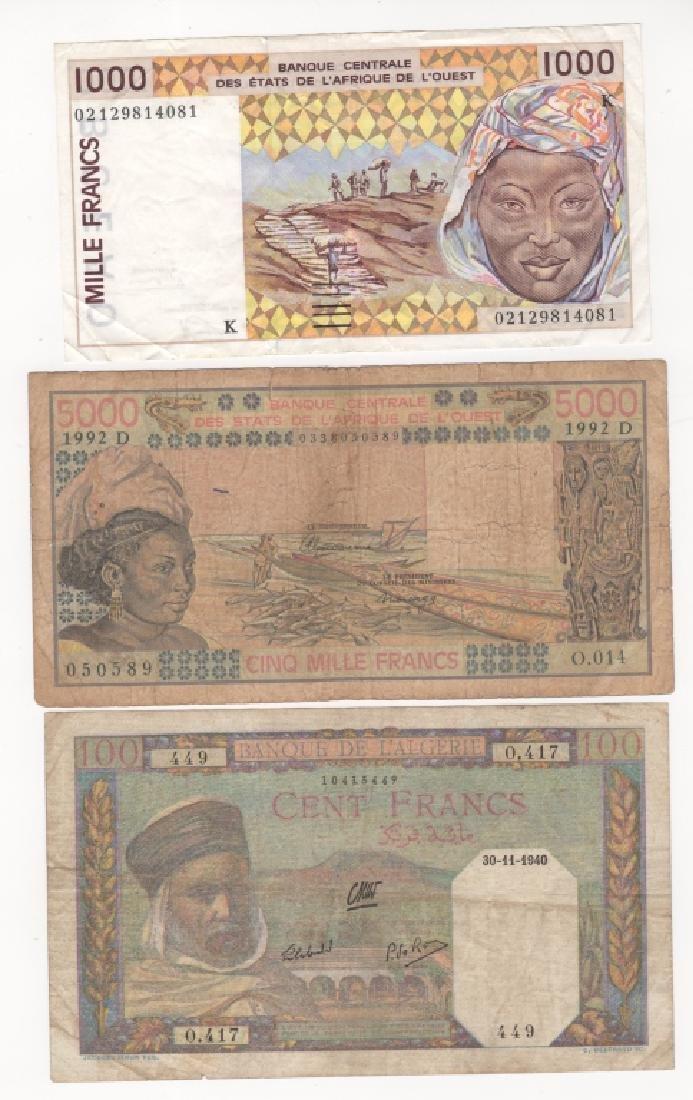 3 piece  West African states & Algeria paper money