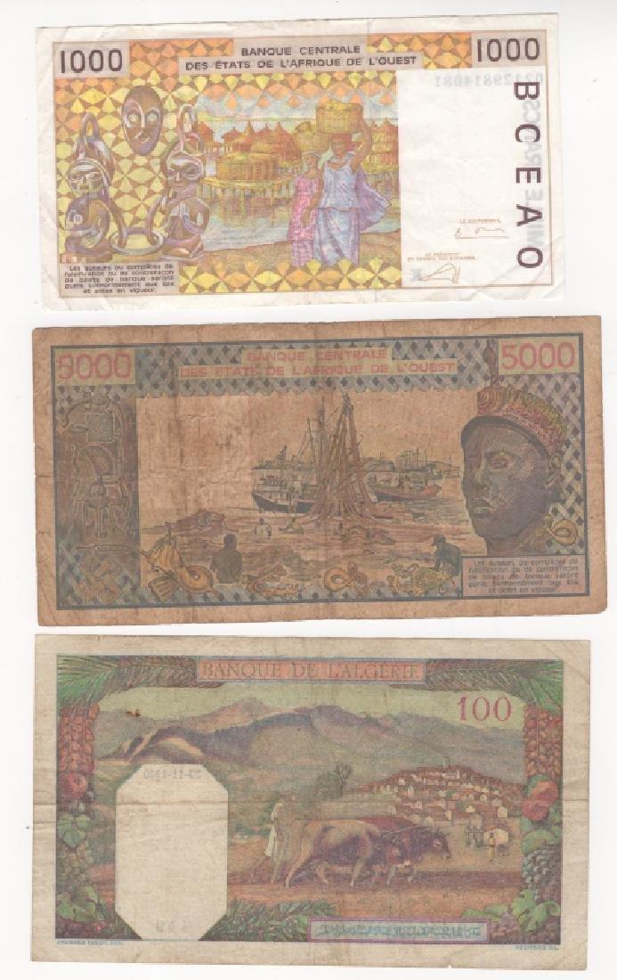 3 piece  West African states & Algeria paper money - 2