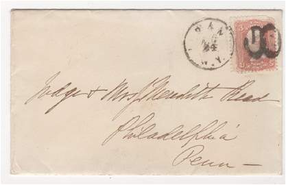 US 1860s stamped cover  SC #65
