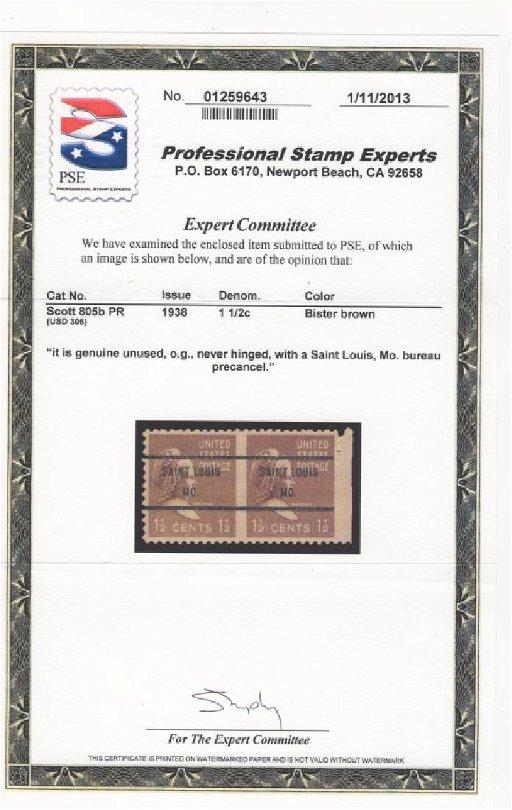 US SC #805b 1938 pair precancel stamps certificate