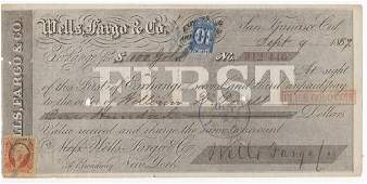 US 1867 Wells Fargo and Co. bank check