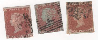 3 Great Britain Queen Victoria penny red stamps