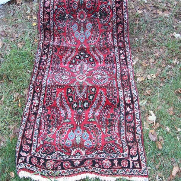 2: Very long red/multi colored oriental runner, 3 1/2'