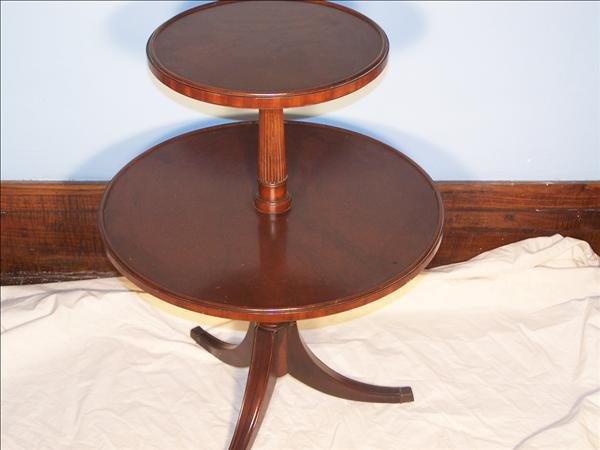 8: Two tier table signed Grand Rapids Mich.