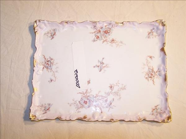 14: 1891-1896 Signed Limoges floral pattern tray