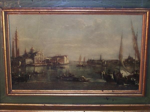 "17: Venetian print, unsigned in shadow box, 9"" h x 13"