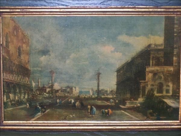 "18: Venetian print, unsigned in shadow box, 9"" h x 13"