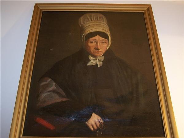 """19: Early 19th c. oil on canvas of Quaker woman, 29"""" h"""