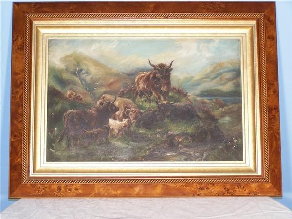 20: 19th c. oil on board of English bull scene in mahog