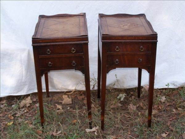 404: Pair of French style leather top end tables