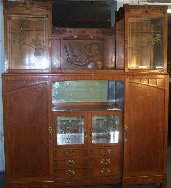 1B: Art Nuvo cabinet with banded & brass inlay,6 drawer