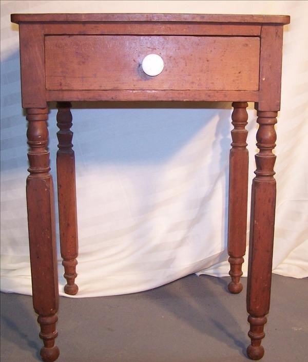 4B: 1820-1840 One drawer stand w/ New York legs & porce