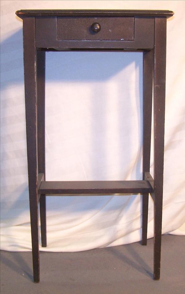 6B: Shaker style one drawer black stand w/ straight leg