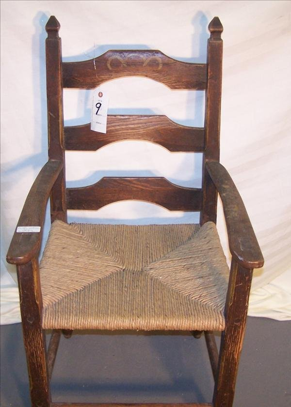 9B: English rush seat chair, all pegged & mortise & ten