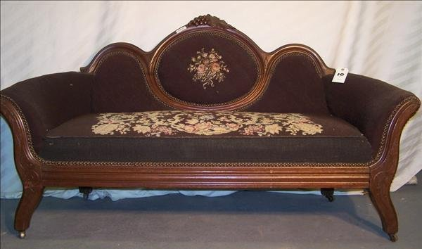 10B: Needlepoint Victorian settee w/ carved grape & vin
