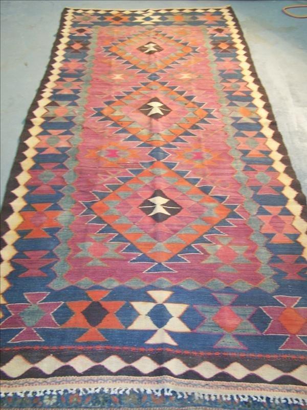 16B: 19th c. Navaho style rug, 4.2' x 9.4'