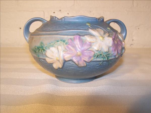 17B: Roseville blue sunflower vase, 7 diam x 4 1/2 h