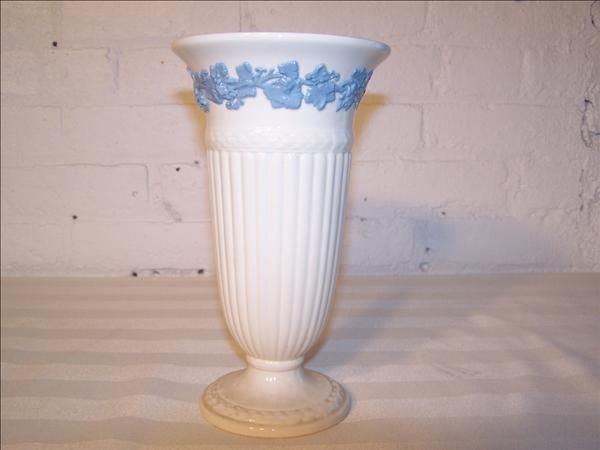 19B: Wedgwood white vase w/ blue trim dated Dec. 1968,
