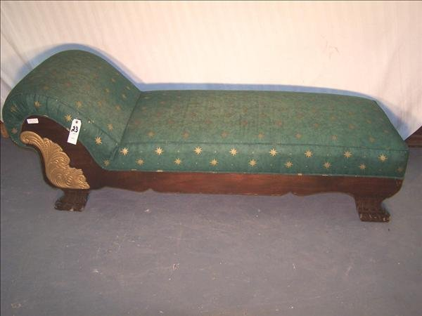 23B: American Empire chaise lounge w/ gold leaf pattern