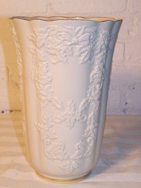 100B: Large Lenox vase w/ floral design, 7 w x 10 1/2 h