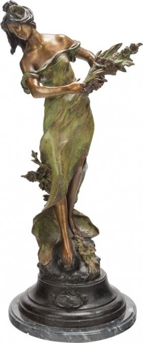 19th C. Large Bronze August Moreau Figure