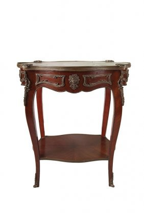Louis Xv Style Brass Mounted Side Table