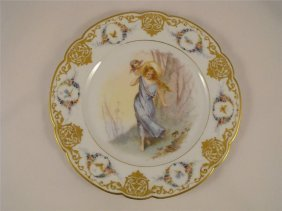 Four 18th C. Sevres Style Hand Painted Plates