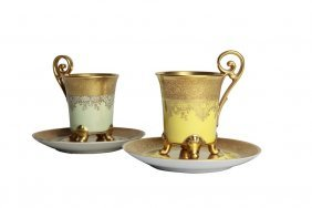 Pair Of Early 20th C. Bavaria Porcelain Cups