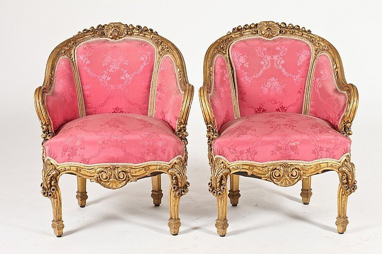 Suite of Four Carved Giltwood Louis XIV Style Bergeres