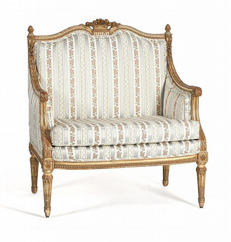 Early 20th C. Louis XVI Style Giltwood Armchair
