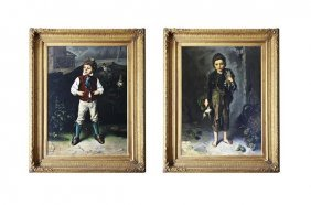 Pair Of 19th C. Ludwig Knaus Paintings