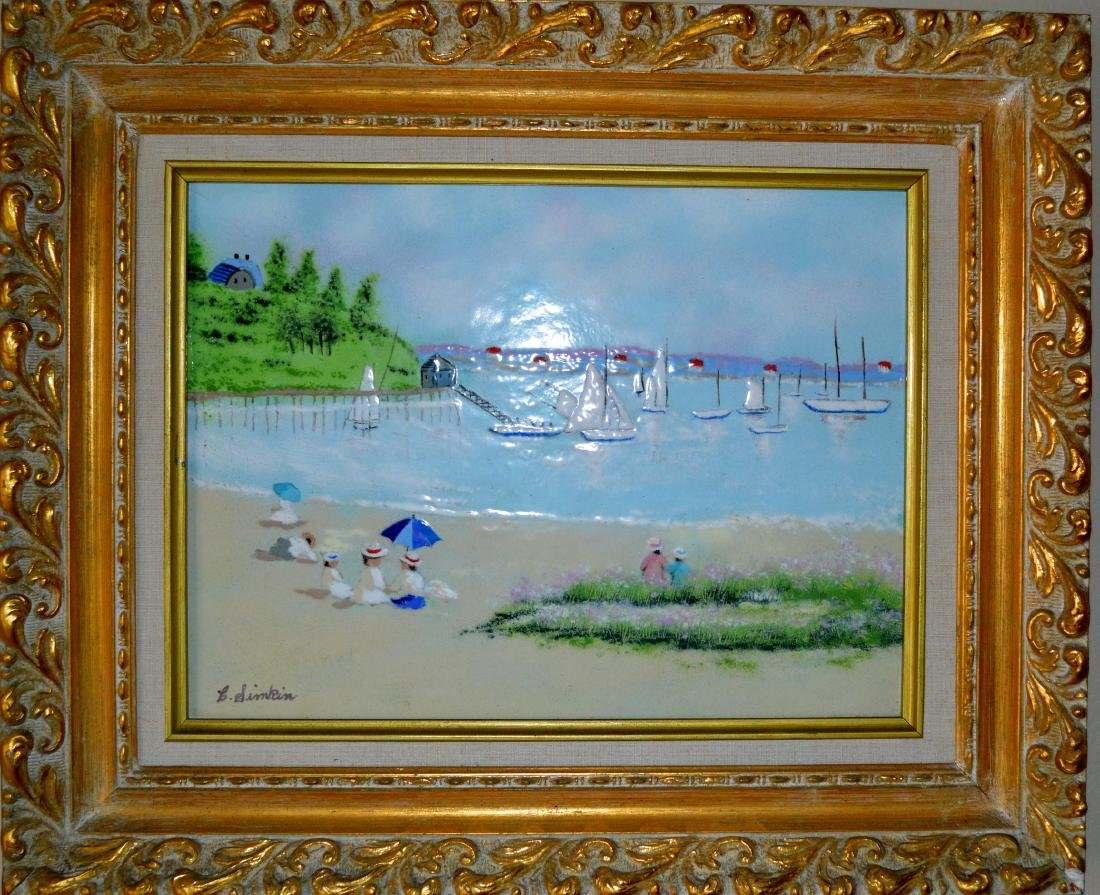 Carol Simkin- Beach - Boats with Dock