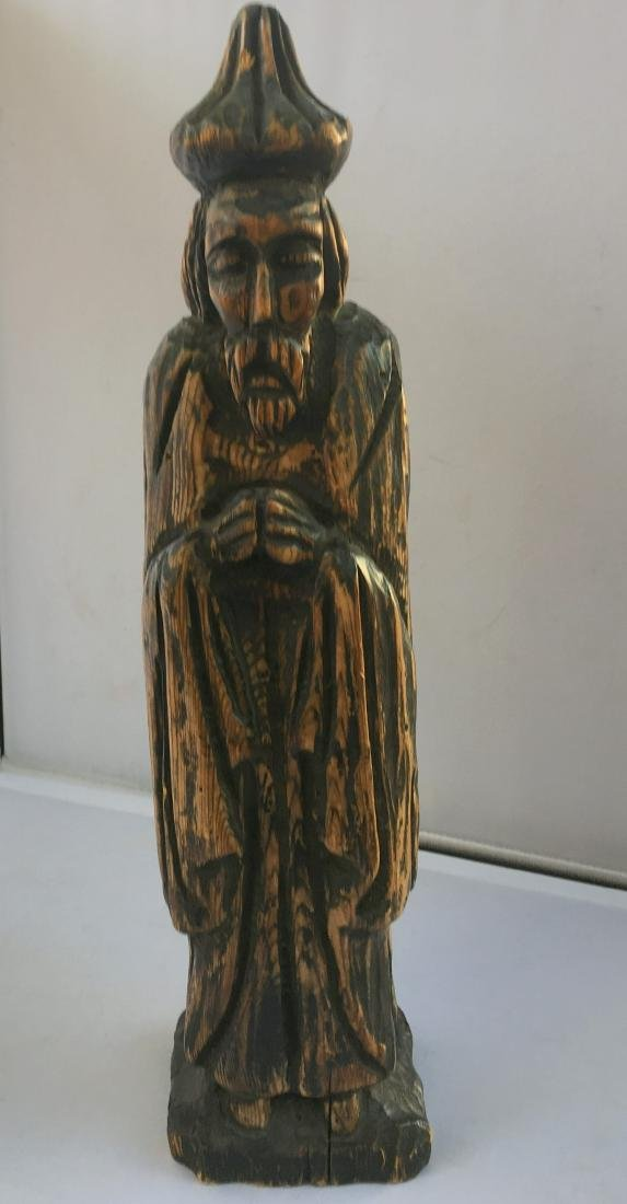 Antique Hand Carved Chinese Wood Statue