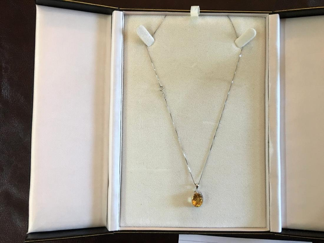 Citrine Pendant with Diamonds on Sterling Silver