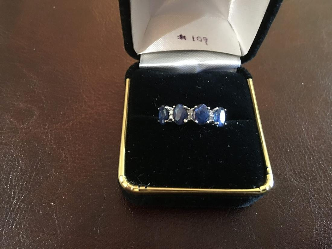 14K White Gold Ring with 4 Sapphires