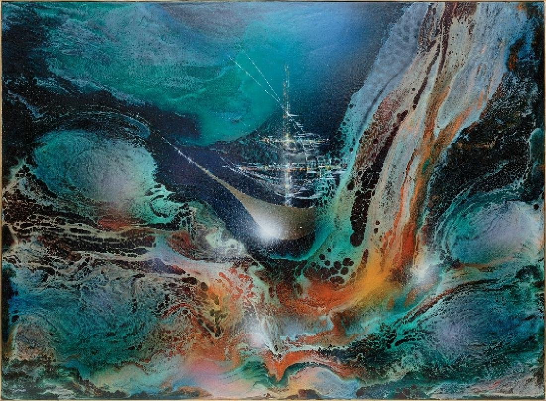 Leonardo Nierman - Enchanted Ship Oil Painting,  Signed