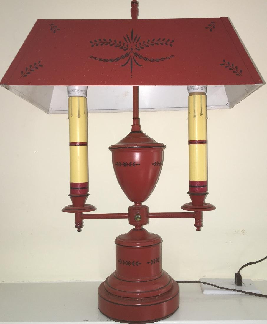 Vintage French Bouillotte 2 Candle Desk Lamp with Tole