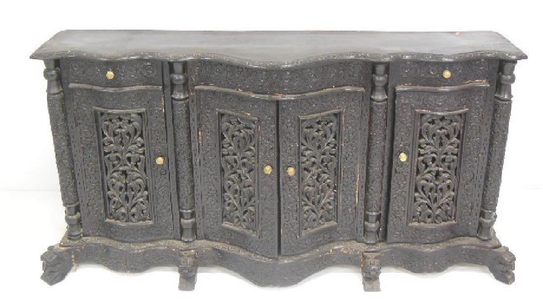 Heavily Carved Ebonized Burmese Sideboard,