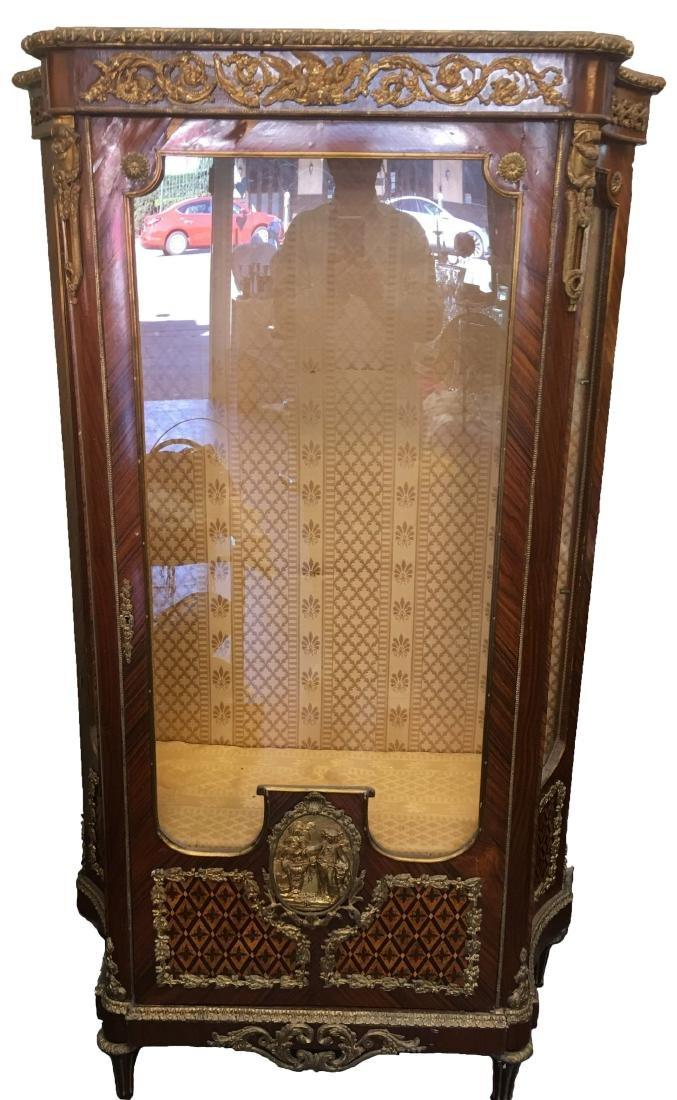 19th Century French Inlaid and Ormolu Mounted Vitrine