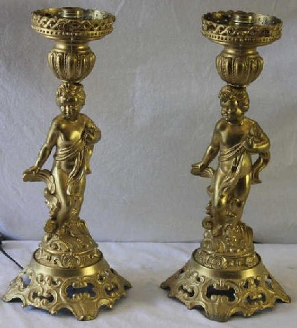 Pair Gilt Metal Cherub Lamps