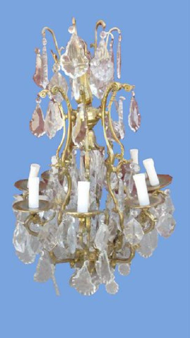 FANTASTIC BRASS AND LARGE CRYSTAL CHANDELIER