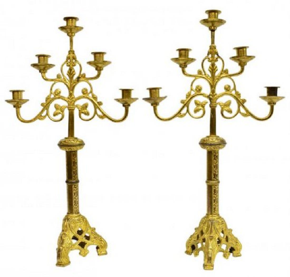 (2) FRENCH GILT METAL ECCLESIASTICAL CANDELABRAS