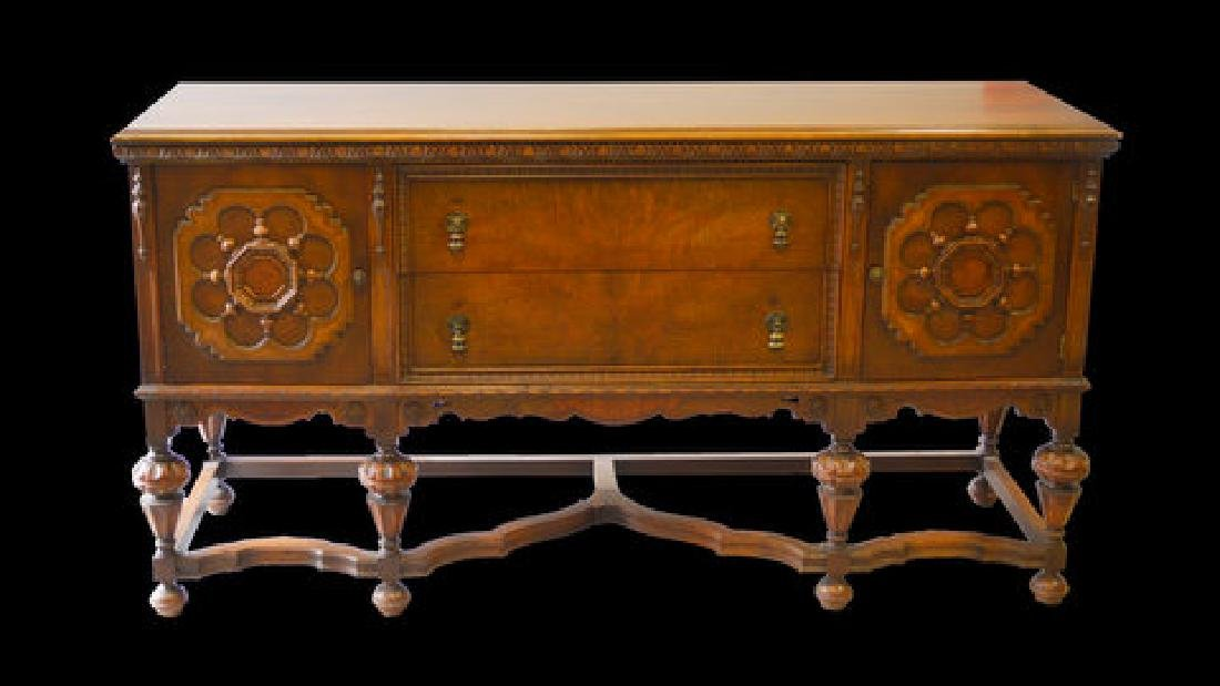 1920's INCREDIBLE CARVED ANTIQUE GOTHIC STYLE BUFFET