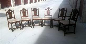 6 Carved Oak Antique Chairs 1930s